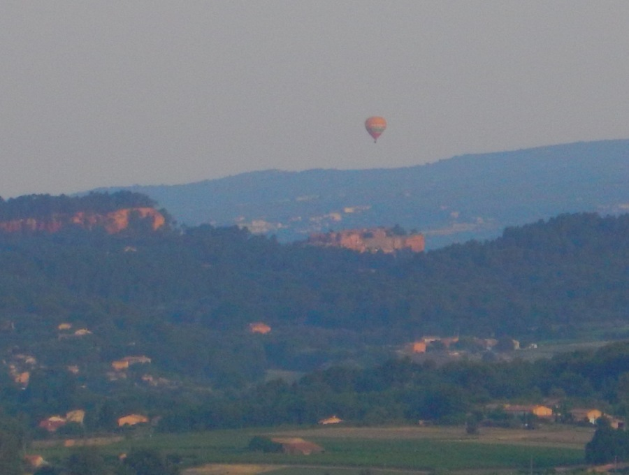 red cliffs of Roussillon - left, ballon over village - right