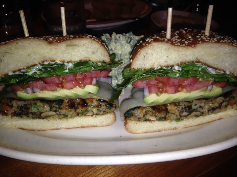 Fantastic veggie burger at the South Beverly Grill