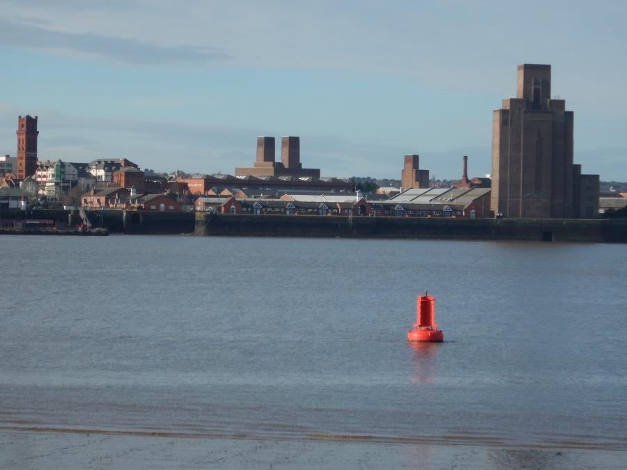 Birkenhead as seen from Liverpool.  Note the deeper water.