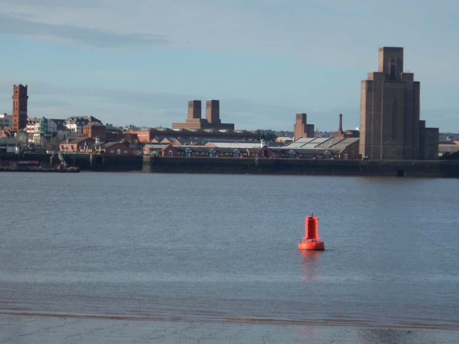 Birkenhead as seen from Liverpool.  Note the deeper water.