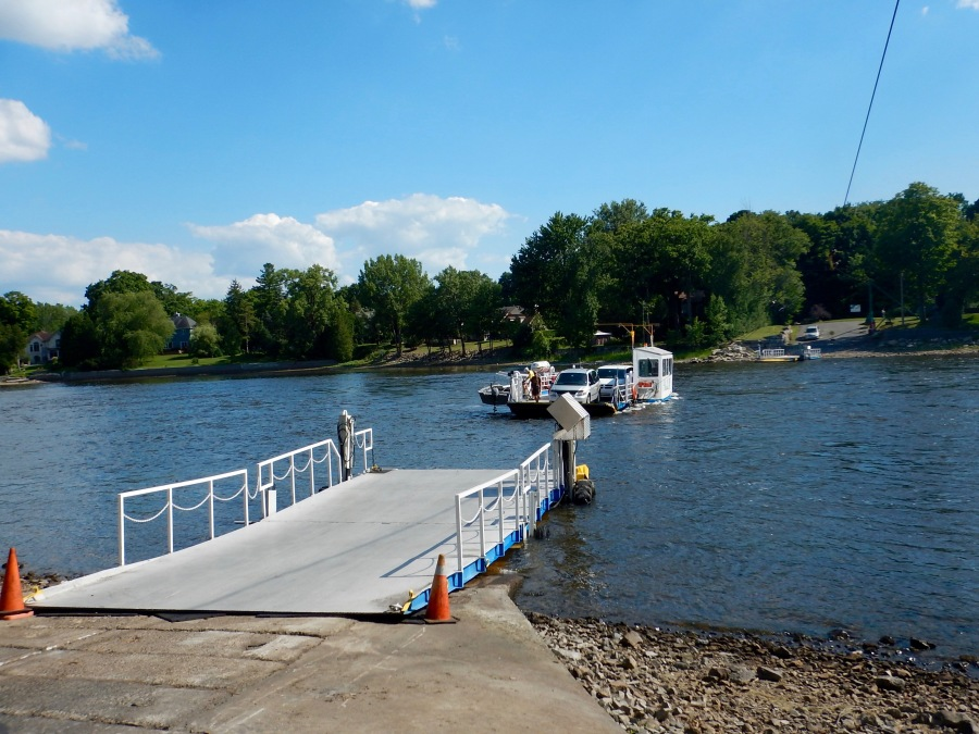 ferry across the small, but strong Prairies River. Notice the cable above to keep up from going down river