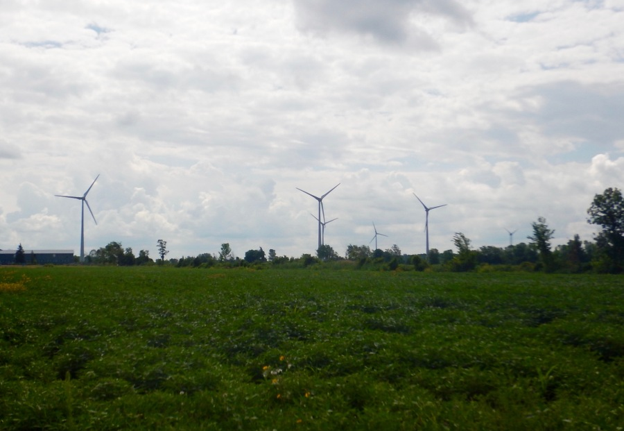 going with the theme of the day, we see several windmill farms