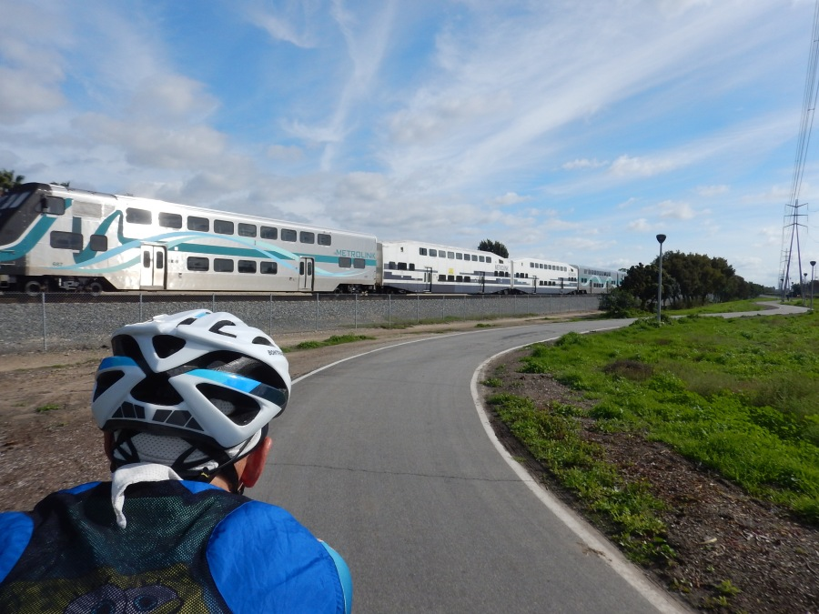 the metrolink passes us along the Walnut trail in Irvine